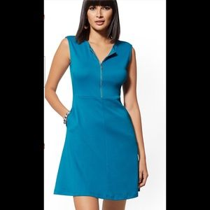 Zip front fit and flare cotton dress stretch